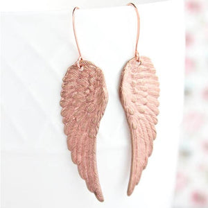 Rose Copper Wing Earrings - Lavender Fields