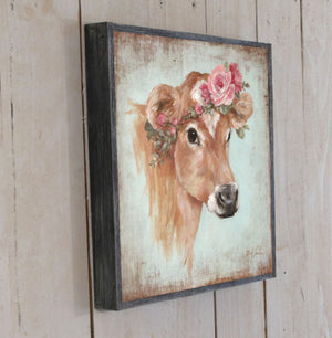 """Rosie"" Cow Barnwood Framed/Printed on Wood French Farmhouse Cow"
