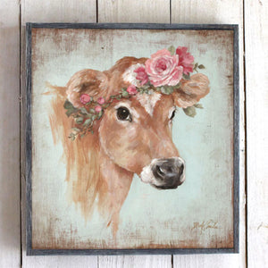 """Rosie"" Cow Barnwood Framed/Printed on Wood French Farmhouse Cow - Lavender Fields"