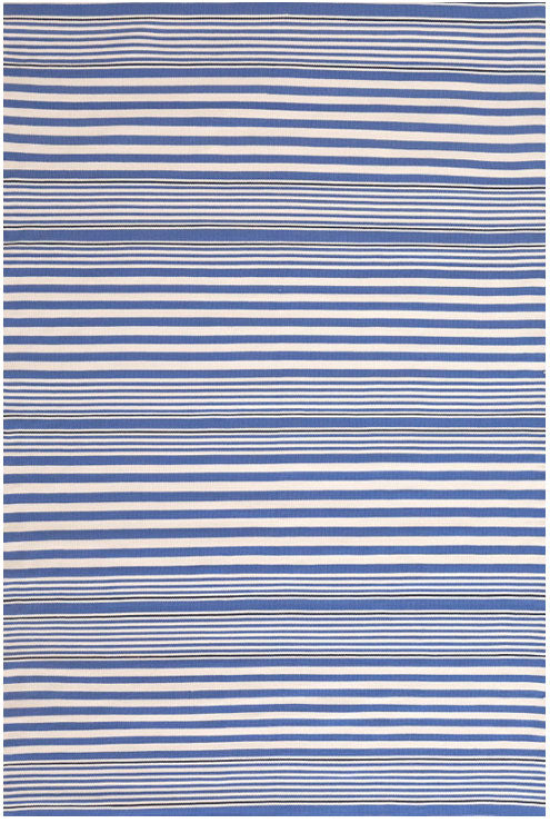 Dash and Albert Rugby Stripe Denim Indoor/Outdoor Rug