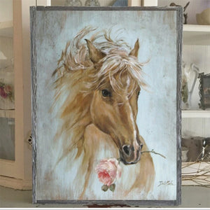 "Rustic Farmhouse Wood Framed ""Run For The Rose"" Print on Wood by Debi Coules"