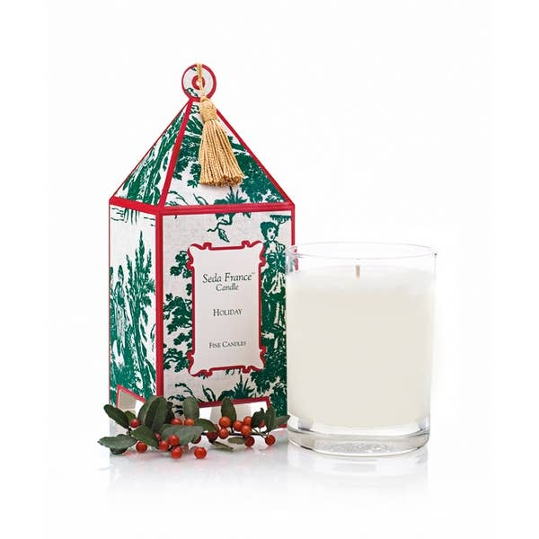 Seda France Holiday Toile Pagoda Box Candle - Lavender Fields