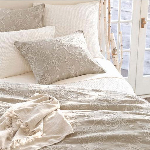 Pine Cone Hill Seychelles Dove White Quilted Sham