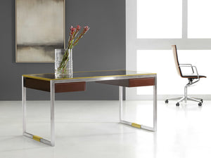 Modern History Stainless and Brass Writing Desk - Lavender Fields