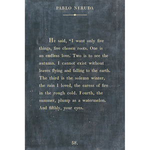 Sugarboo Designs Pablo Neruda Charcoal Art Print Gallery Wrap