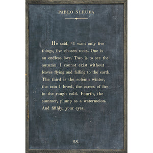 Sugarboo Designs Pablo Neruda Charcoal Art Print Grey Wood