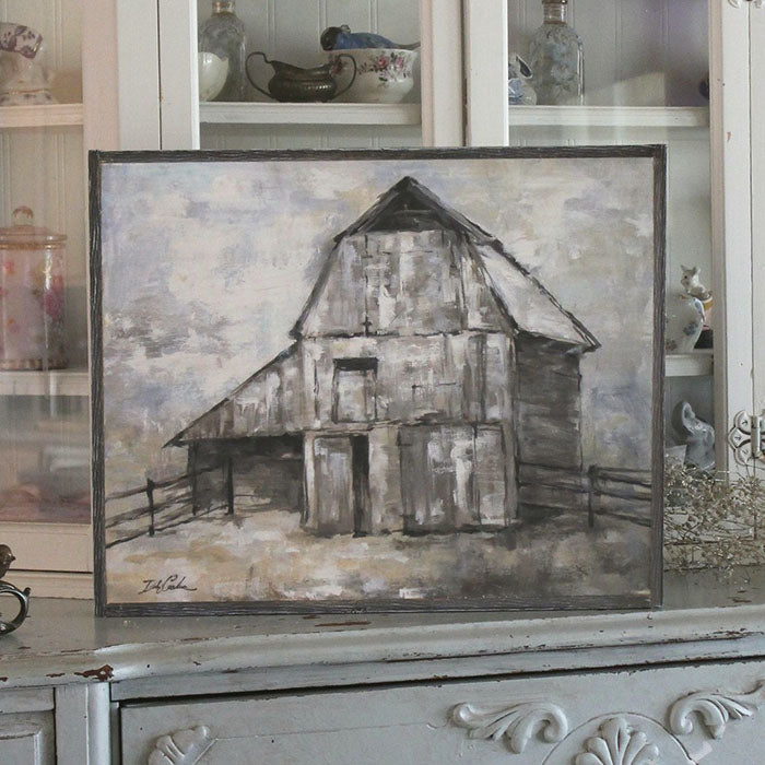 """The Barn"" Barnwood Framed/Printed on Wood Rustic Farmhouse by Debi Coules - Lavender Fields"