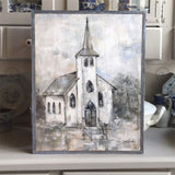"""The Light Within"" Church Barnwood Framed/Printed on Wood Rustic Farmhouse by Debi Coules - Lavender Fields"