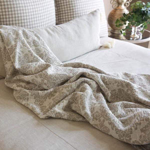 Jacquard Linen Throw Blanket - Lavender Fields