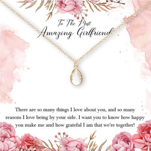 Dear Ava To My Amazing Girlfriend Necklace (Gold) - Lavender Fields