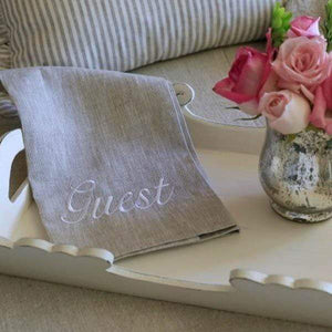 Guest Linen Towel Taupe with White