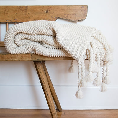 Pom Pom at Home Trestles Throw Antique White