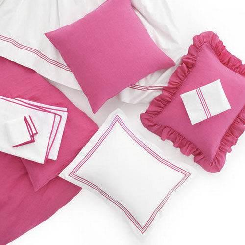 Pine Cone Hill Trio Fuchsia Pillowcases (Pair)