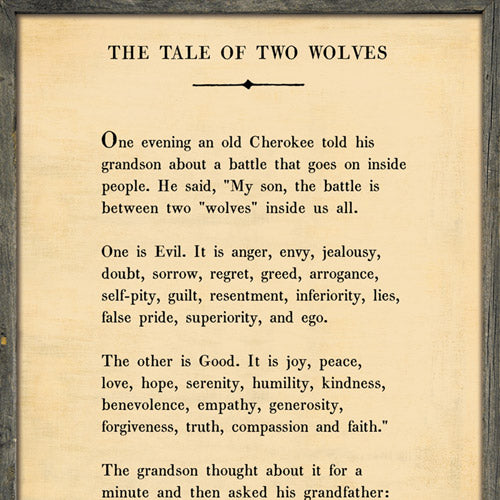 Sugarboo Designs The Tale of Two Wolves - Book Collection Sign (Grey Wood) - Lavender Fields