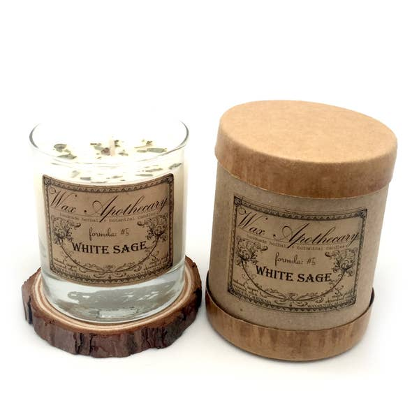 7oz Botanical Scotch Glass Candle in Box - White Sage - Lavender Fields