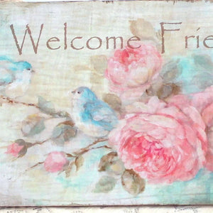 """Welcome Friends"" on Wood by Debi Coules - Lavender Fields"