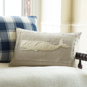 Taylor Linens Natural Linen Whale Pillow - Lavender Fields