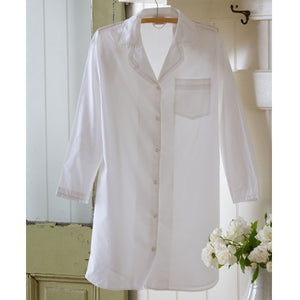 Taylor Linens White Ruffled Nightshirt - Lavender Fields