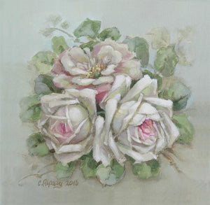 Christie Repasy White Rose Bouquet Original Canvas Print