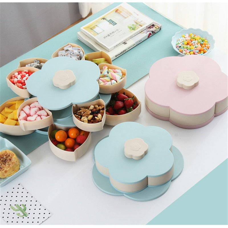 Petal-Shape Rotating Snack And Fruit Storage Tray - MyEKLEKTIK