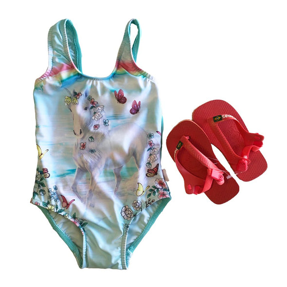 Seafolly Unicorn Swimsuit/Coral Havaianas