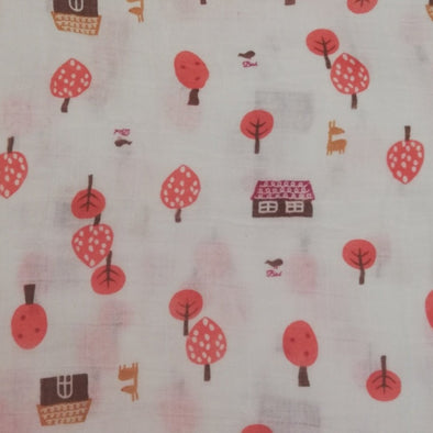 Muslin Swaddle Pink Trees