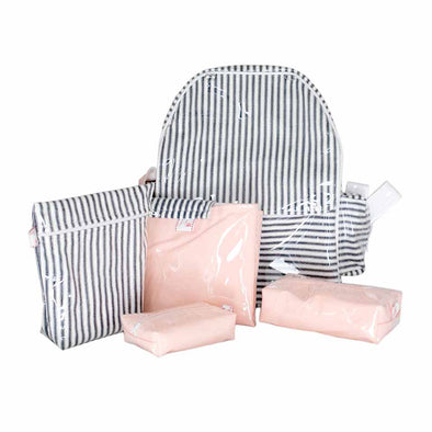 Petit Love Diaper Backpack - Navy Stripes Pink