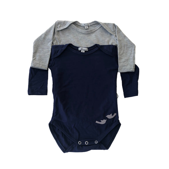 Signature Longsleeved Babygrow Set - Navy & Light Grey