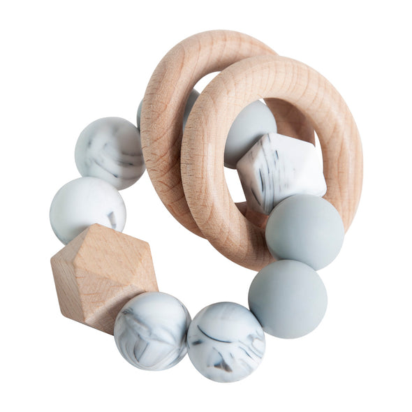 Rattle Ring Teether - Marble & Grey