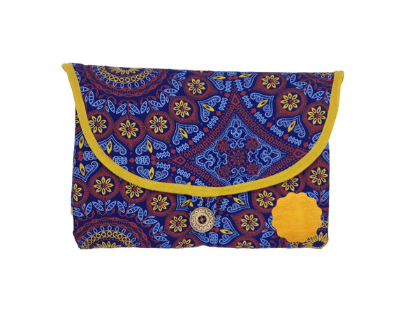 Blue and Yellow Rosette Changing Mat