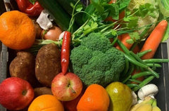 Organic Fruit & Vegetable Box (Medium) with meat. Orders In By 9am Monday for a Wednesday Collection
