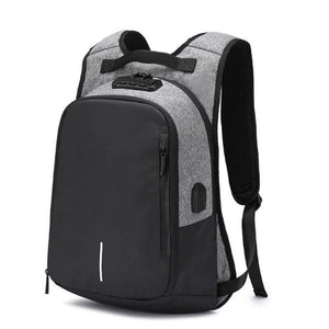 OZUKO Canvas Backpack Men USB Charge Password Lock Anti Theft Three-Dimensional Backpack European And American Style Travel Bag
