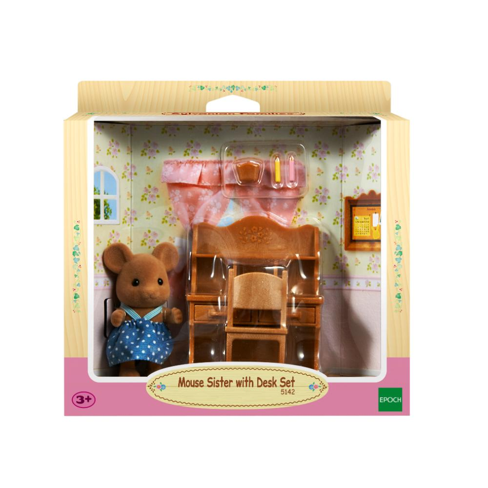 Sylvanian Family Mouse Sister With Desk Set