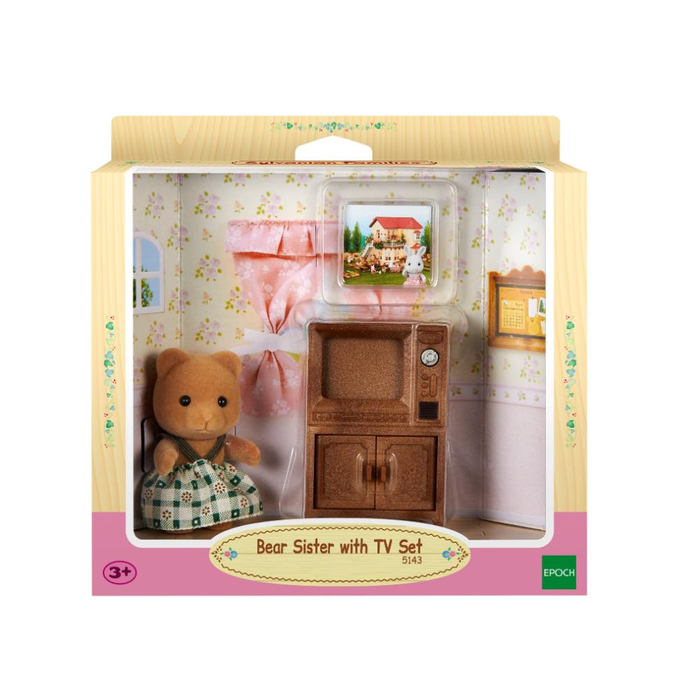 Sylvanian Family Bear Sister With Tv Set