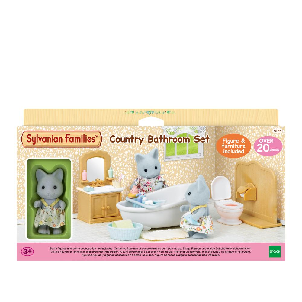 Sylvanian Family Country Bathroom Set With Cat Sister