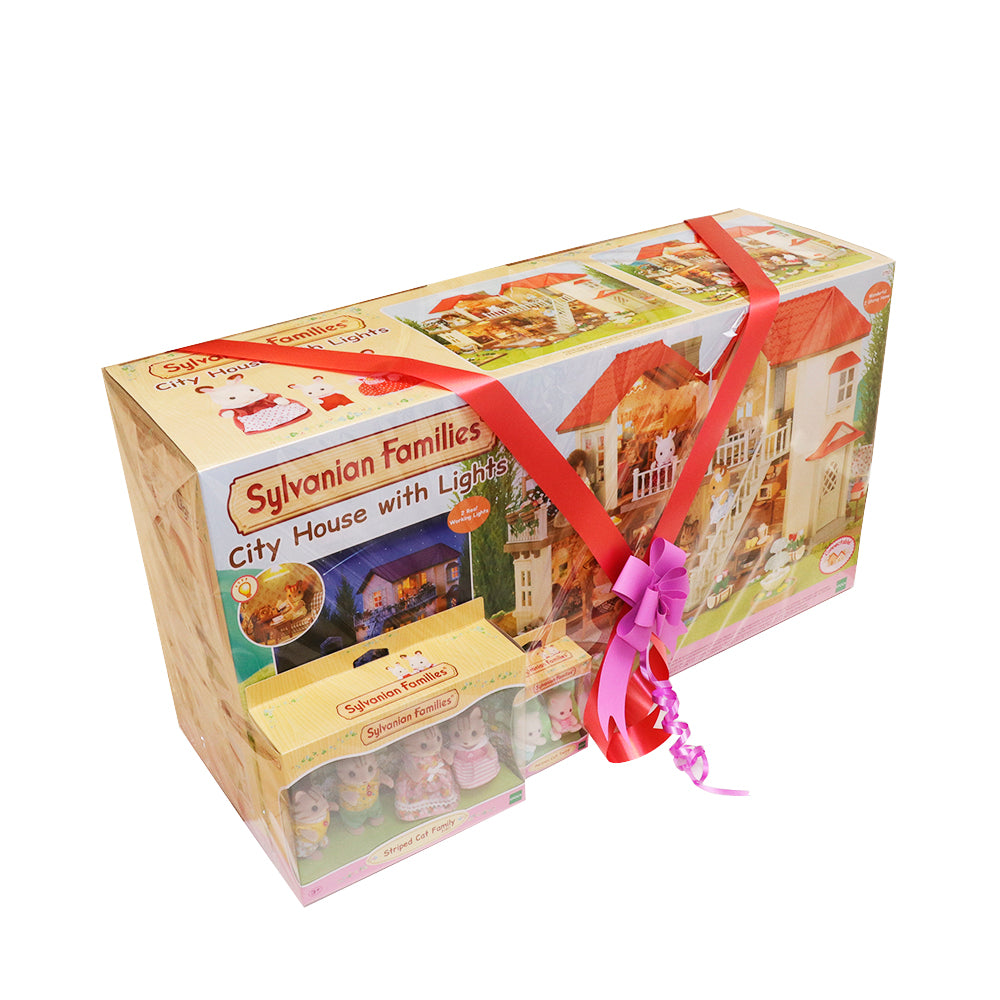 Sylvanian Family City House Gift pack With Free Family and Baby collection