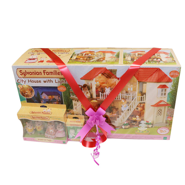 Sylvanian Families City House Gift pack With Free Family and Baby collection