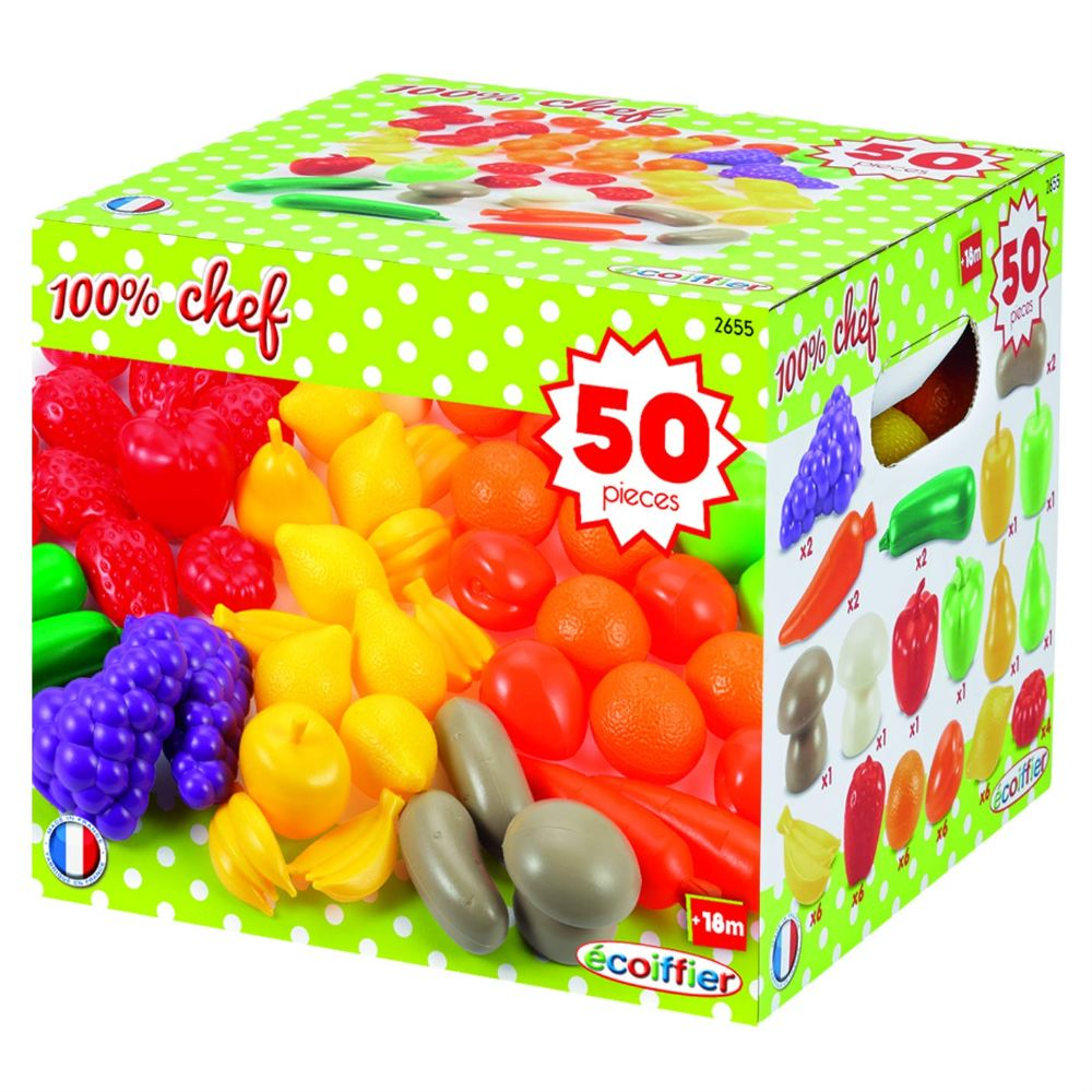 Ecoiffier 50 Fruits And Vegetables Pack