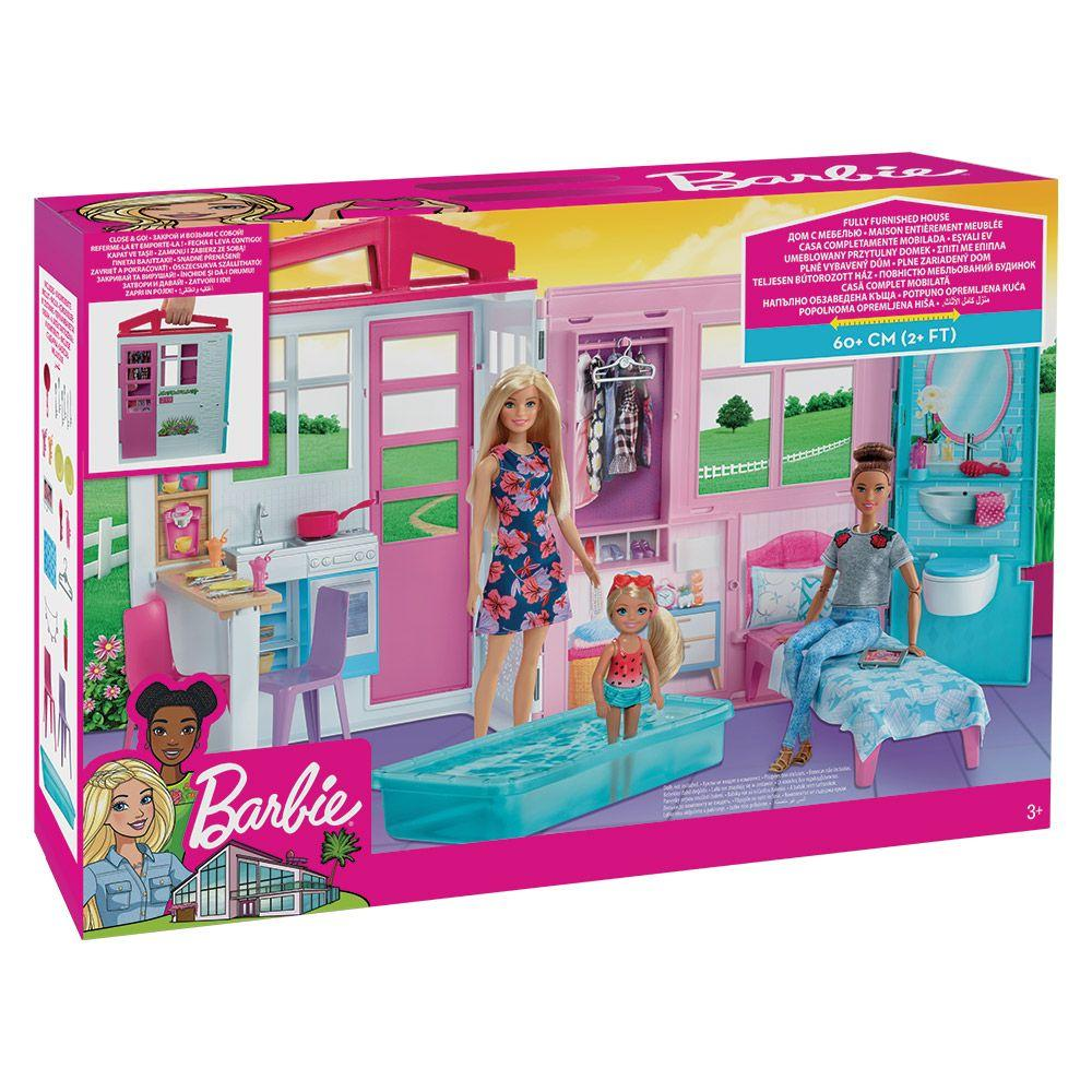 Barbie Dollhouse, Portable 1-Story Playset With Pool And Accessories