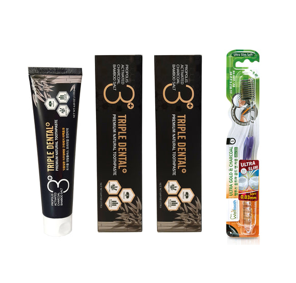 2pcs Triple Dental+ Bamboo Salt, Propolis, & Activated Charcoal Toothpaste 133g + Free Welltooth Toothbrush