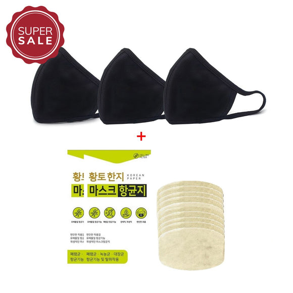 3 Pcs Washable 3D Shape Cotton Black Mask + 20 Pcs Hanji Nano-Filter Set