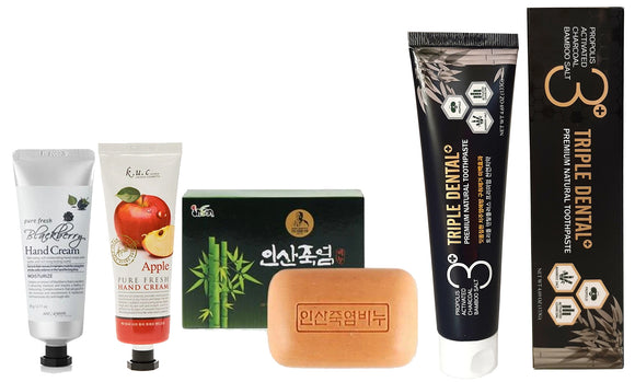 [ Holiday Gift Set ] Bamboo Salt Soap 100g + 2pcs Triple Dental Toothpaste+ KUC Pure  Hand Cream Lotion 2 pcs Set