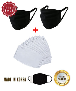 2 pcs Cotton Black Korean Mask with Filter Pocket + 10 pcs 2 .5 PM Activated Carbon 5 Layers Air Filter