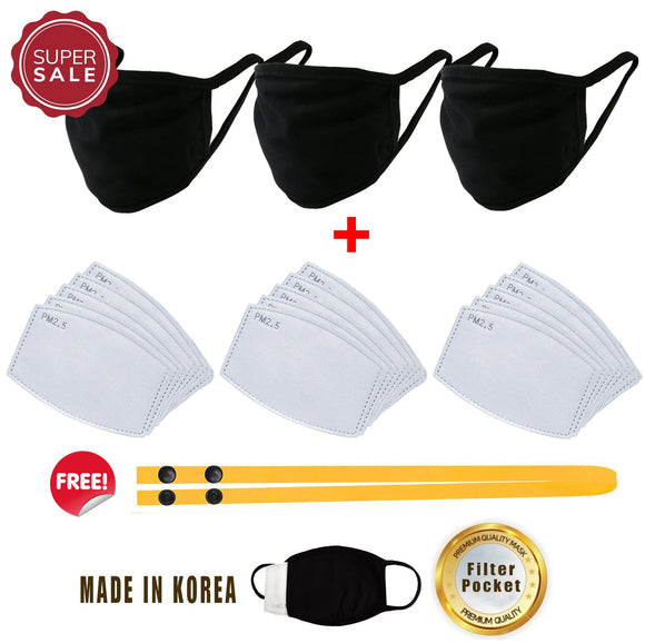 3 pcs Cotton Black Korean Mask with Filter Pocket + 15 pcs 2 .5 PM Activated Carbon 5 Layers Air Filter