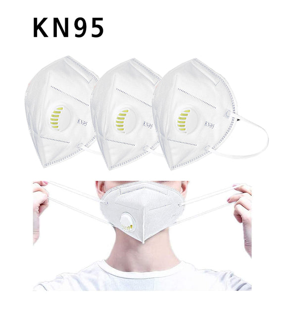 KN95 Face Dust Mask with Air Vent Filter/Breathing Valves 3pcs