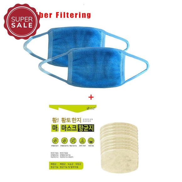2 Pcs Microfiber Filtering Mask With Negative Ion & Far Infrared Ray + 20 Pcs Hanji Nano-Filter Set