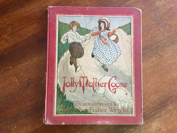 Jolly Mother Goose, Hardcover Book, Antique 1916, Illustrated