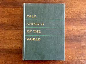 Wild Animals of the World, Illustration Portraits by Mary Baker, Text by William Bridges, Vintage 1948, Hardcover Book