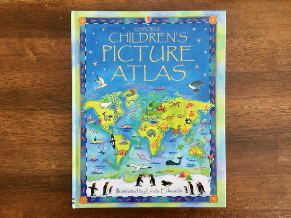 The Usborne Children's Picture Atlas, Hardcover, Illustrated by Linda Edwards