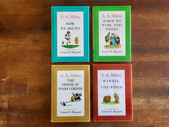 Pooh's Library by A.A. Milne, Illustrated by Ernest H. Shepard, Vintage 1961, Hardcover Books with Dust Jackets in Slipcase